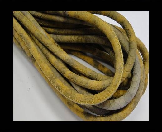 Buy Round stitched nappa leather cord Grey-Beige-6mm at wholesale prices
