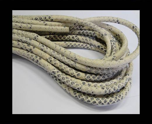 Round stitched nappa leather cord Snake-style-Ivory Grey-6mm