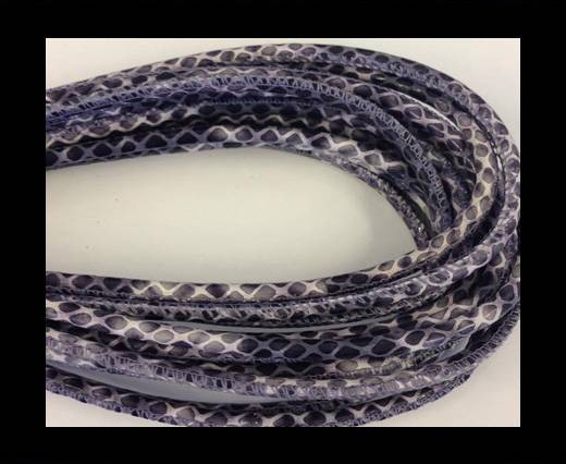Round stitched nappa leather cord black-grey-white -4mm