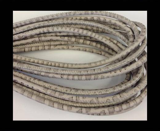 Round stitched nappa leather cord Snake style- Grey-Beige -4mm