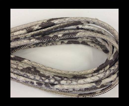 Round stitched nappa leather cord Snake style- Python  -4mm
