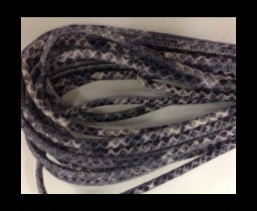 Round stitched nappa leather cord Snake style-black-grey-white-4mm