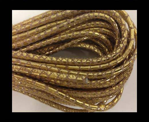 Buy FRound stitched nappa leather cord Snake style-gold dotted -4mm at wholesale prices