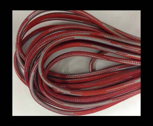 Buy Round stitched nappa leather cord Snake style-red-silver-4mm at wholesale prices