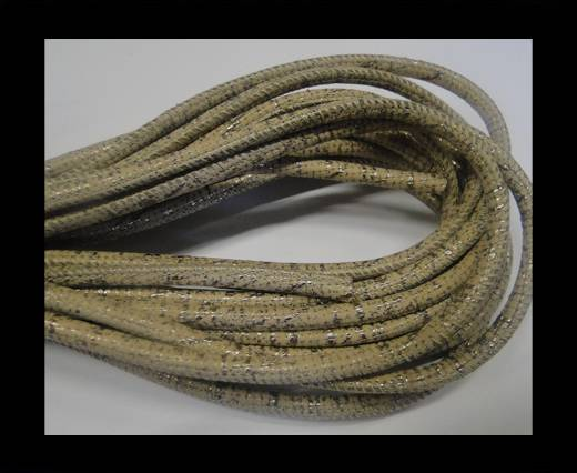 Round stitched nappa leather cord Snake style-4mm-beige antique