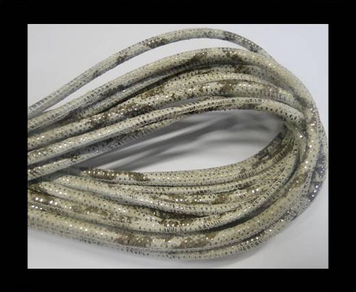 Round stitched nappa leather cord Snake style-4mm-silver-beige-brown
