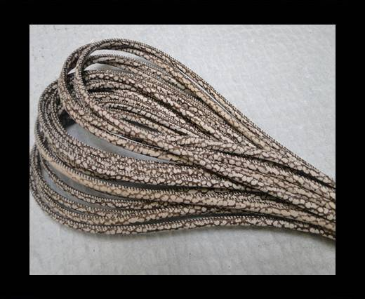 Round stitched nappa leather cord Snake style-4mm-Patch Style Dark Brown