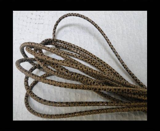 Buy Round stitched nappa leather cord Snake style-4mm- Python Brown at wholesale prices