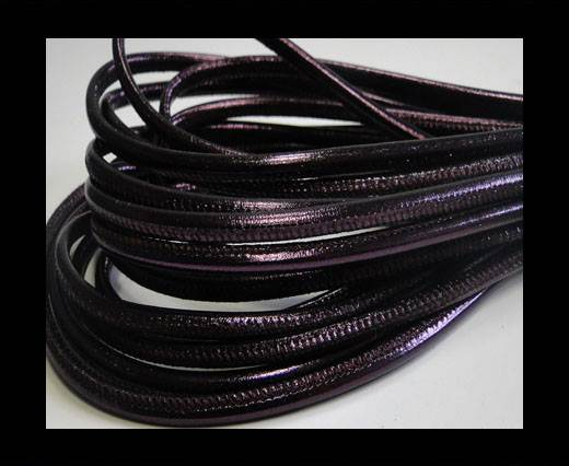 Round stitched nappa leather cord Snake style-Purple Vintage -4mm