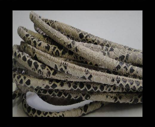Buy Round stitched nappa leather cord Snake style- Ivory -4mm at wholesale prices