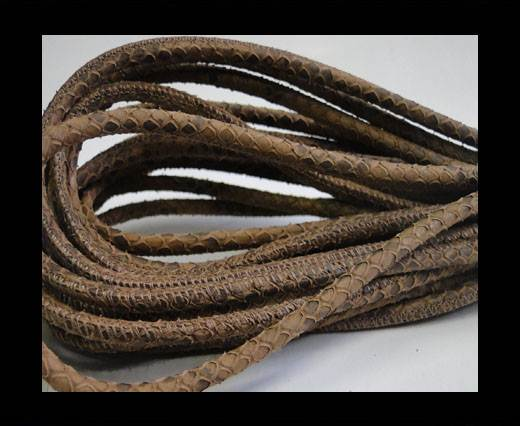 Round stitched nappa leather cord Snake style- Light Brown -4mm