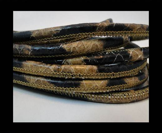 Round stitched nappa leather cord Snake style-4mm-leopard print