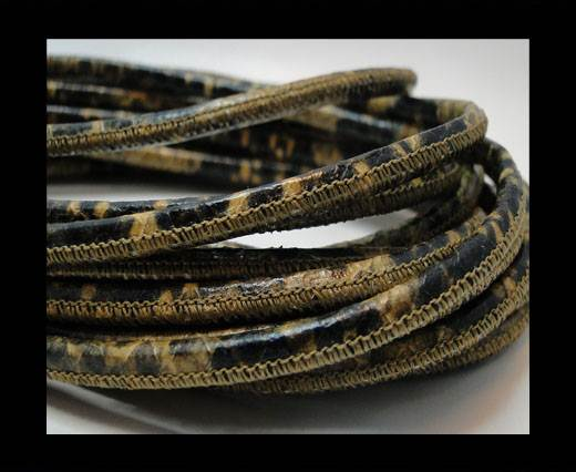 Round stitched nappa leather cord Snake style-4mm-stich python senape