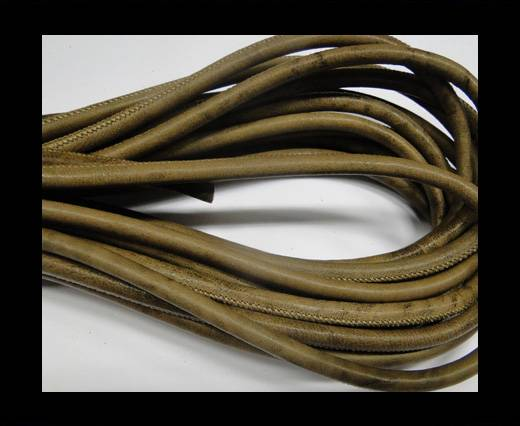 Round stitched nappa leather cord Stitch-style-Light Brown-6mm