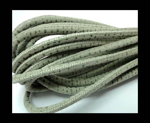 Buy Round stitched nappa leather cord 4mm Spyral Style Grey at wholesale prices