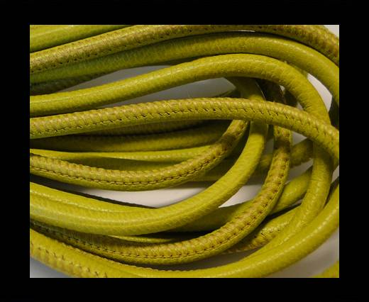 Buy Round stitched nappa leather cord Yellow Green-4mm at wholesale prices