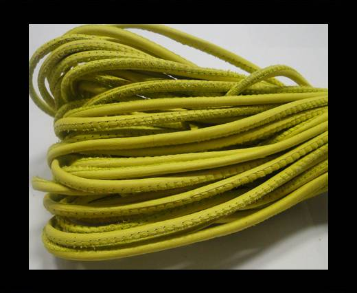 Round stitched nappa leather cord Yellow -2,5mm