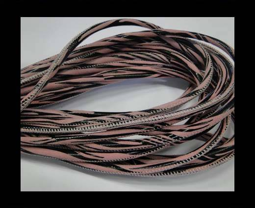 Buy Round stitched nappa leather cord Zebra-Style -Rose-4mm at wholesale prices