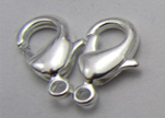 Zamak Lobster Claw Clasps-FI-7001 -Silver - 10mm