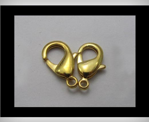 Zamak Lobster Claw Clasps-FI-7001 -Gold - 10mm