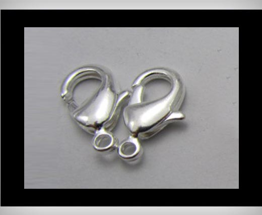 Zamak Lobster Claw Clasps-FI-7001 -Silver - 12mm