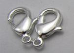 Zamak Lobster Claw Clasps-FI-7001 -Silver - 15mm
