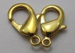 Zamak Lobster Claw Clasps-FI-7001 -Gold - 15mm