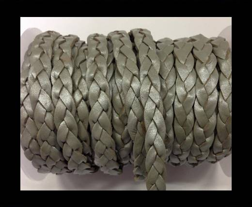Flat 3-ply Braided Leather Metallic-SE-Metallic Grey-10MM