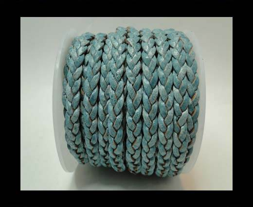 Choti-Flat 3-ply Braided Leather -5mm-Blue white base