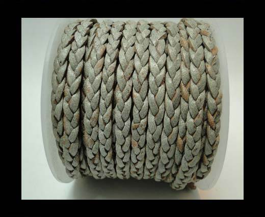 Choti-Flat 3-ply Braided Leather -5mm-Grey white base