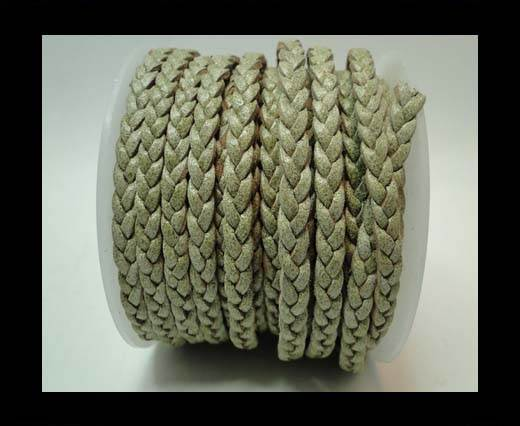 Choti-Flat 3-ply Braided Leather -5mm-SE Hunter Green white base