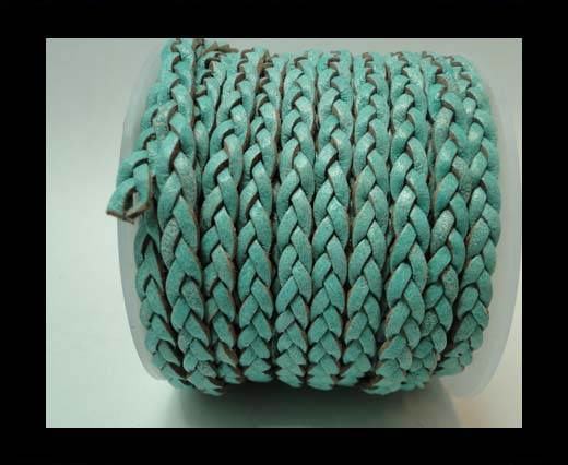 Choti-Flat 3-ply Braided Leather -5mm-Turquoise white base