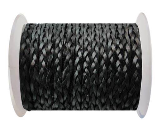 Flat 3-ply Braided Leather-SE-Black-3MM