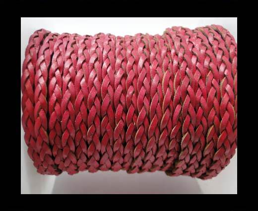 Flat 3-ply Braided Leather-SE-Fuchsia-3MM