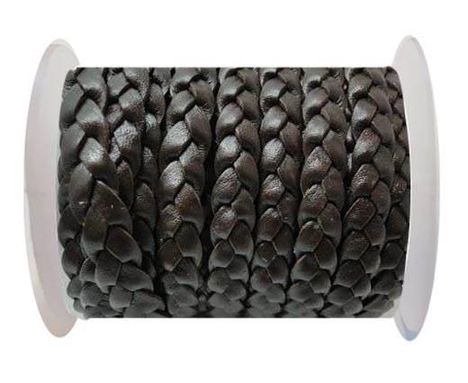 Flat 3-ply Braided Leather-SE-Matt Black-10MM