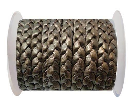 Flat 3-ply Braided Leather-SE-Metallic Bronze-10MM