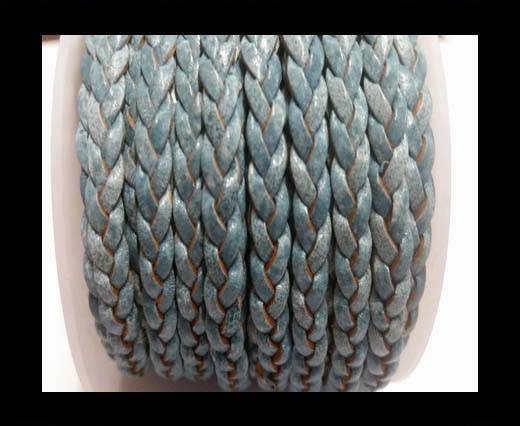 Choti-Flat 3-ply Braided Leather -SE Blue white base