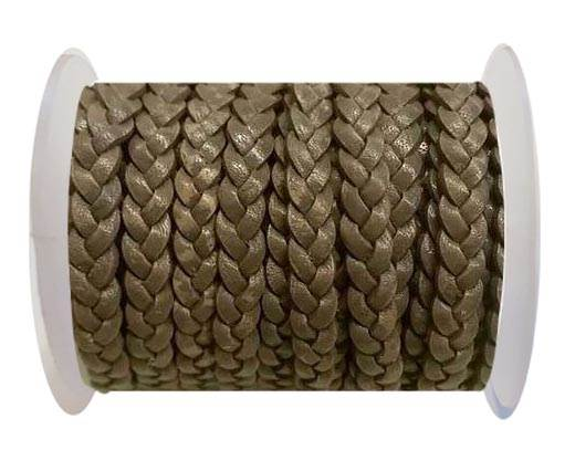 Choti-Flat braided leather 3 ply 5mm - Brown