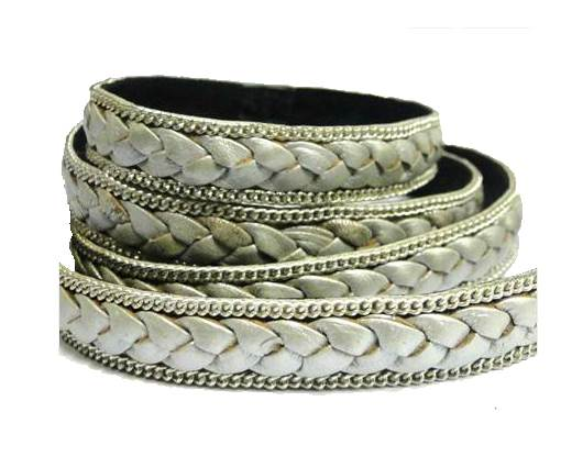 Flat Braided 3 ply with Silver chain - 14mm - Metallic Silver