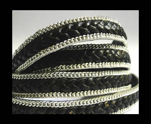 Buy Flat Braided 3 ply with Silver chain - 10mm - Black matt look at wholesale prices