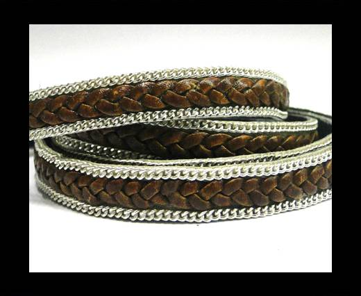 Buy Flat Braided 3 ply with Silver chain - 10mm - SE-PB-04 at wholesale prices