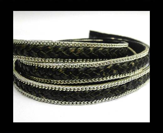 Buy Flat Braided 3 ply with Silver chain - 10mm - Vintage Black at wholesale prices