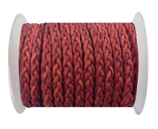 Flat Braided Cords - 3by2 -5mm  - vintage red