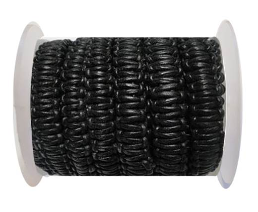 Flat Braided Cords-10MM- Stair Case Style-Black
