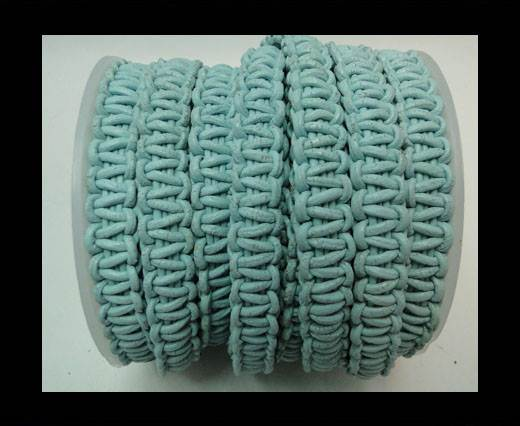 Flat Braided Cords-10MM- Stair Case Style-Pastel Blue