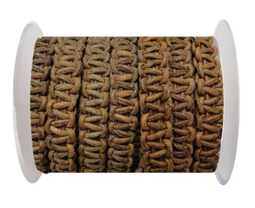 Flat Braided Cords-10MM- Stair Case Style-Vintage Tan