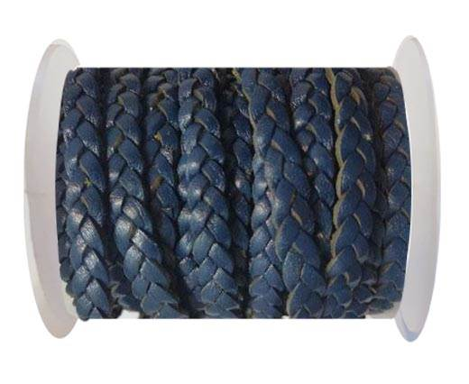 Choti-Flat 3-ply Braided Leather --5MM- SE DARK VINTAGE BLUE