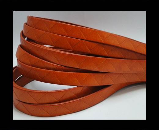 Buy Flat Italian Leather- Stripes -10mm- Orange at wholesale prices