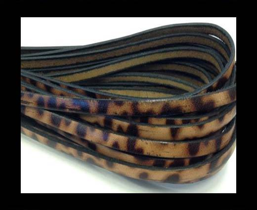 Flat Italian Leather-5mm- Leopard Marrone