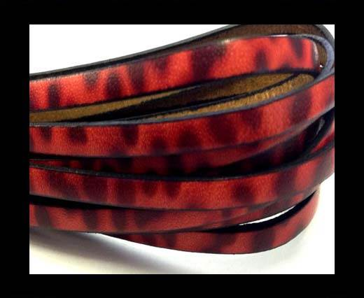 Flat Italian Leather-5mm- Leopard Red